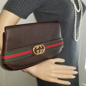 Rare Gucci GG Leather Blondie Clutch with Stripe